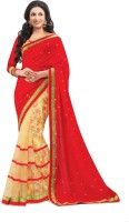 Indianbeauty Printed, Solid Bollywood Pure Chiffon, Net Saree(Red, Beige)