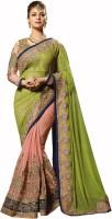 Admyrin Self Design Fashion Georgette, Net Saree(Pack of 2, Light Green)