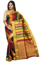 Pavechas Striped Kanjivaram Art Silk Saree(Multicolor)