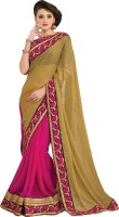 M.S.Retail Self Design Fashion Brasso, Chiffon Saree(Green, Pink)