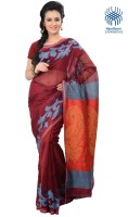 Tantuja Self Design Tangail Handloom Silk Saree(Brown)