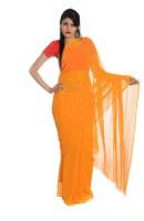 Aaradhya Fashion Striped Leheria Handloom Georgette Saree(Orange)