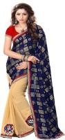 Sourbh Sarees Self Design Fashion Jacquard, Chiffon Saree(Blue, Beige)
