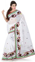 Weavedeal Embellished, Embroidered Bollywood Cotton, Chanderi Saree(White)