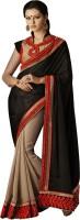 Desi Butik Self Design Fashion Satin Saree(Black)