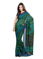Khoobee Printed Fashion Poly Georgette Saree(Green)