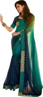 Vishal Solid Fashion Chiffon Saree(Blue)