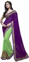 Khoobee Embroidered Fashion Poly Georgette Saree(Light Green)