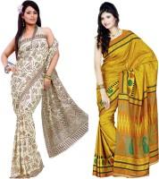 Sunaina Printed Daily Wear Art Silk Saree(Pack of 2, Beige, Yellow)