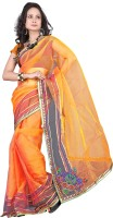 Suali Self Design Fashion Tissue Saree(Orange)
