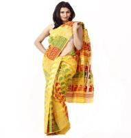 Purabi Woven Jamdani Handloom Silk Saree(Yellow)