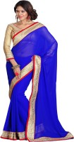 Sourbh Sarees Self Design Fashion Georgette Saree(Blue)
