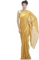 Ethnic Bliss Lifestyles Self Design Phulkari Handloom Chiffon Saree(Yellow, Multicolor)