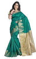 Vastrakala Printed Banarasi Cotton, Silk Saree(Green)