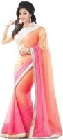 Krishna Fab Embroidered Bollywood Handloom Viscose Saree(Pink, Orange)