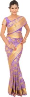 Thara Sarees Self Design Kanjivaram Art Silk Saree(Purple)