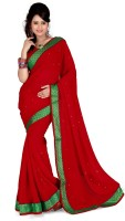 Cenizas Solid Fashion Georgette Saree(Red)