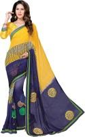 Vastrani Embroidered Fashion Georgette Saree(Dark Blue, Yellow)