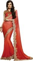 Saara Self Design Fashion Chiffon Saree(Orange)