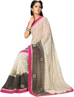 Vibes Embroidered Fashion Synthetic Georgette Saree(White)