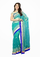 Dancing Girl Embroidered Bollywood Net Saree(Green)