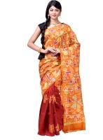 Bani Vastralaya Hand Painted Hand Batik Pure Silk Saree(Multicolor)