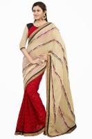 Khushali Self Design, Embroidered Fashion Net, Georgette Saree(Beige, Red, Multicolor)