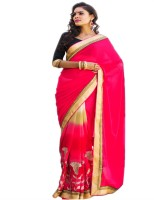 Shaily Embroidered Fashion Pure Georgette Saree(Multicolor)