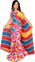 Jiya Self Design, Printed Daily Wear Poly Georgette Saree(Multicolor, Light Blue, Red, Yellow)