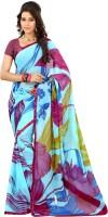 Lookslady Floral Print Fashion Georgette Saree(Light Blue)