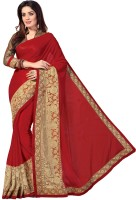 M.S.Retail Embroidered Fashion Chiffon, Net Saree(Red)
