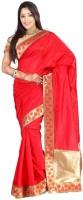 Weavedeal Embellished Banarasi Art Silk Saree(Orange)