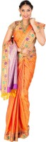 Thara Sarees Self Design Kanjivaram Art Silk Saree(Orange)