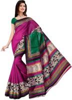 Jiya Self Design, Printed Fashion Poly Silk Saree(Multicolor, Pink)