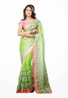 Dancing Girl Solid Bollywood Net Saree(Green)