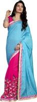 Khoobee Self Design, Embroidered, Embellished Fashion Cotton Blend, Chiffon Saree(Light Blue, Pink)