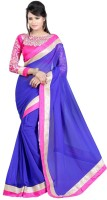 Winza Embroidered, Embellished, Solid Fashion Chiffon Saree(Blue)