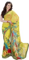 Vibes Printed Fashion Synthetic Georgette Saree(Yellow)