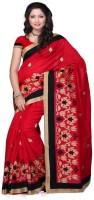 Meghdoot Self Design Fashion Poly Silk Saree(Red)