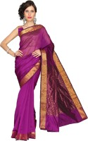 Vastrakala Solid, Striped Fashion Cotton, Silk Saree(Pink)