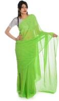 Aaradhya Fashion Printed Leheria Handloom Georgette Saree(Green)