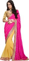 Jiya Self Design Fashion Georgette Saree(Pink, Yellow)