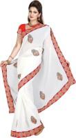 De Marca Embroidered Fashion Chiffon Saree(White)