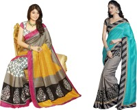 Bhavi Printed Fashion Art Silk Saree(Pack of 2, Multicolor)