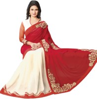 Indianbeauty Solid, Self Design Bollywood Pure Chiffon Saree(White, Red)