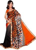 Jiya Geometric Print Fashion Poly Crepe Saree(Multicolor)