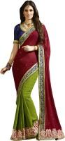 Kvsfab Embroidered Fashion Jacquard Saree(Maroon, Green)