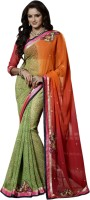 Khoobee Self Design, Embroidered, Embellished Fashion Chiffon Saree(Multicolor)