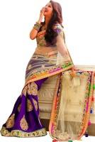 Welcome Fashion Self Design Bollywood Handloom Net Saree(Dark Blue, White)