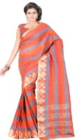 Indi Wardrobe Woven Chanderi Handloom Chanderi Saree(Red)